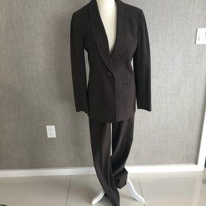 Jones New York Pinstriped High Waisted Pantsuit